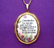 GRANDMA Porcelain GRANDMOTHER Blessing verse CAMEO Locket Necklace Birthday Gift