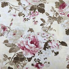 Vintage Roses sur jaune lin tissu de coton. Prix Par 1/2 Mètre