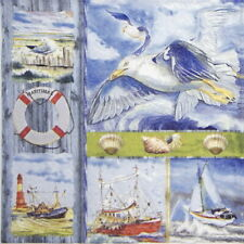4x Paper Napkins for Decoupage party - Coastal Collage
