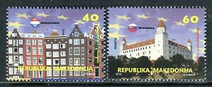 207 - MACEDONIA 2016- Macedonia in EU - Amsterdam - Bratislava - Flags - MNH Set