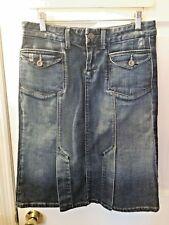 Women's PAIGE Denim Bronson Jean Skirt Distressed Rocker Flap Pockets Sz 27