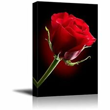 Framed Red Rose Flower Romantic Modern Picture Print Canvas Wall Art Home Decor