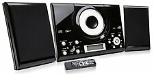 Hi Fi Home Audio Black CD Player Stereo with FM radio Wall Mountable Clock Alarm