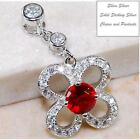 2 CT RUBY & WHITE TOPAZ, GENUINE 925 SOLID STERLING SILVER PENDANT