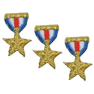 """Vintage Medal Applique Patch - Award, Star, Chevron 1"""" (3-Pack, Iron on)"""