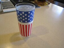Vintage Patriotic Us Flag Stars Stripes Red White And Blue Libbey Tumbler Glass