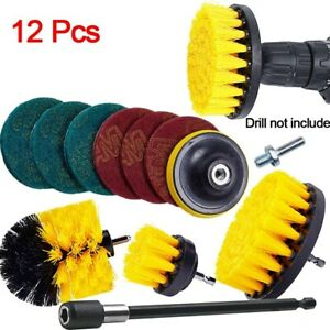 12Pcs Drill Brush Power Scrubber Attachment Tile Grout Tub Cleaner Tools Kits