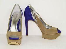 """CALVIN KLEIN *Kayleen Peep Toe Platform Pumps* Colorblock Suede 5"""" Heels 8 M"""