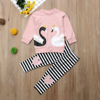 NEW Swan Girls Ruffle Shirt Striped Leggings Outfit Set 2T 3T 4T 5T 6