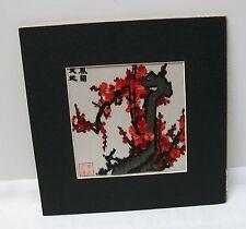 Chinese Cherry Blossom Tree Handmade Silk Embroidery Art - Signed