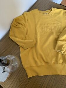 Country Road Heritage Sweat Jumper Mustard Yellow Womens XS Oversized AU 6 8
