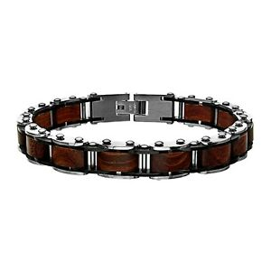 INOX Red Sandal Wood in Stainless Steel Link Men's Bracelet 8.5""