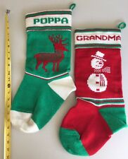 Handmade Knitted CHRISTMAS STOCKINGS SOCKS Grandma Poppa Red Green SET/2 Wool