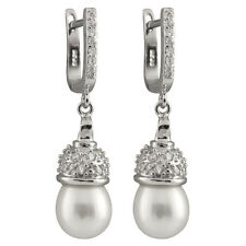Sterling silver rhodium plated dangling earrings 8-9mm freshwater pearls ESR-215