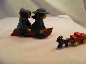 Vintage Wilton Cast Iron Girl & Boy on Red Sled + Mini Miniature Complete NICE