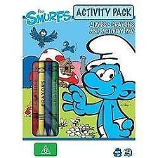 THE SMURFS ACTIVITY PACK 2 DVDS +ACTIVITY PAD + CRAYONS BOXSET BRAND NEW SEALED!