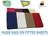 """Extra Deep Percale Fitted Sheets16"""" SINGLE, DOUBLE, KING AND PILLOWCASES"""