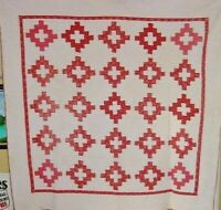 ANTIQUE  QUILT CHIMNEY SWEEP  RED AND WHITE  C1900  SOFT AND CLEAN
