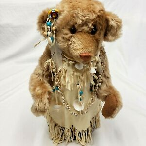 Franklin Mint Native American Teddy Bear Doll Real Leather 16 in tall w/ Stand
