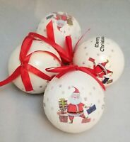 "Santa Gifts Ball Ornament Set 4 Christmas 3"" Decor Decoupage Kurt Adler"