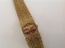 1970's ACCURIST SWISS MADE 21 JEWELLED LADIES TIGER EYE FACED BRACELET WATCH.