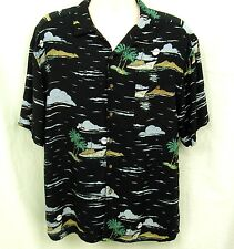 Hawaiian Shirt Mens Sz 1XB Aloha Cruise Palm Trees Tropical Rayon Island Fever