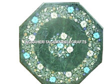 12'' Green Marble Coffee Table Inlay Fine Marquetry Decor Furniture Decor H3109