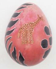 Africa Handmade Kisii Soapstone Handpainted Giraffe Egg Carving