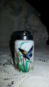 """Antique Enamel Painted Milk Glass Mustard Jar With Yellow & Lilac Butterfly 3""""T"""