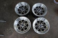"JDM Equip 03 style 15"" pcd100x4 Staggered wheels Miata MX5 mx-5 roadster civic"