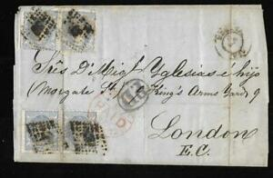 SPAIN, 1872 COVER FROM MADRID TO LONDON. 8 X 50M STAMPS 2 DAMAGED