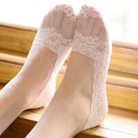 3/5 Pairs Women Lace Socks No Show Non Slip Thin Ultra Low Cut Boat Liner Socks