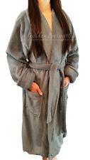 New Women Gray Shawl Collar Velour Soft Plush Thick Bath Robe Warm Spa & Hotel