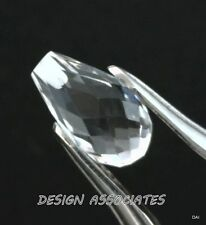 DIAMOND QUARTZ 9X5 MM DROP CUT BRIOLETTE TOP DRILLED ALL NATURAL AAA 2 PC SET