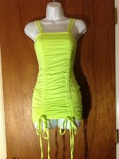 AMI CLUBWEAR S Neon Green Yellow Ruched Bodycon Adjustable Party Dress