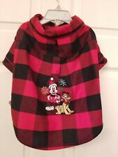Disney Mickey Mouse Dog Christmas Tee Flannel Shirt Red Buffalo Plaid Medium NWT