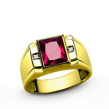 Mens Ring in REAL Fine 14K SOLID GOLD with Red Ruby and Diamond Accents All Sz