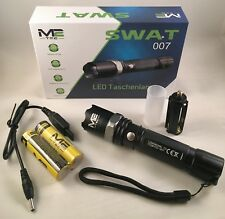 CREE LED Taschenlampe SWAT, extrem hell mit 2x 18650 Akku und Ladegerät