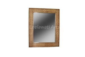 Bone Inlay Wood Floral Design Mirror Brown Color