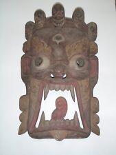 """24"""" Tibetan Buddhism Mahakala Carved Wood Mask"""