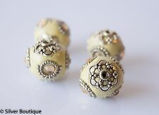 4 Indonesian Beads beige, Yellow Crystals, Bali Accents Handmade 20mm