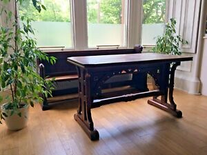 Table or desk  Ecclesiastical Church Alter Table. Fabulous Gothic! Pitch Pine,