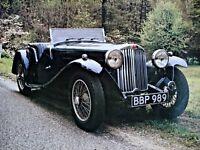 Vtg 1936 AC 16/80 Roadster 16X20 Motor Trend Retrospect Print Poster Automobile