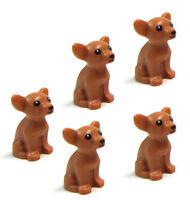 LEGO 5pcs NEW CHIHUAHUA DOG Pet Puppy Animal Medium Dark Flesh Doggy Minifigure
