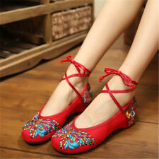 UK Vintage Womens Chinese Embroidered Floral Flat Canvas Ballet Ankle Strap Shoe