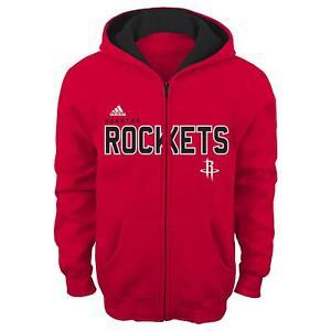 "Houston Rockets Youth NBA Adidas ""Stated"" Full Zip Hooded Sweatshirt"