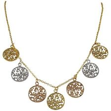 """""""Tri Color Gold, Rose Gold Plated Filigree Circle Pendant Necklace"""""""
