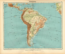 1908 MAP ~ SOUTH AMERICA PHYSICAL BRAZIL CHILE FALKLAND ARGENTINA