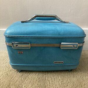 Vintage American Tourister Tiara Train Case 1960's Travel Blue Luggage