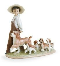 LITTLE EXPLORERS - BOY WITH PUPPY DOGS - LLADRO PORCELAIN  6828